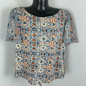 Lucky Brand women top blouse short sleeve size M